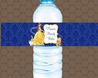 Beauty and the Beast Belle Water Bottle Labels Wrappers Stickers Printable Uprint Digital DIY Instant Download