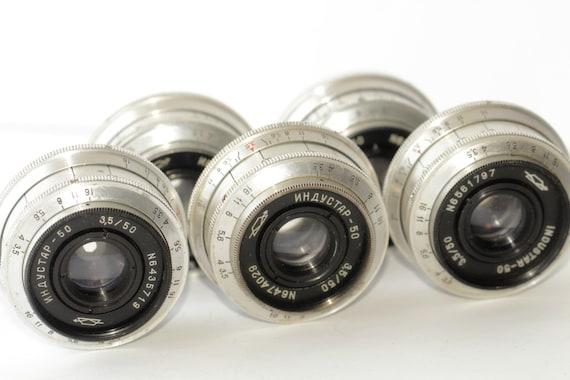 Industar-50 KMZ 3.5/50 Silver USSR Pancake SLR Lens M39 Set of 5 pcs Tessar copy q