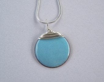 Turquoise Blue Enamelled Pendant