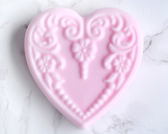 Pink Heart Soap - Victorian Soap - Custom Bridesmaids Gifts - Pastel Glycerin Luxury Soap - Glam Decorative Soaps - Bar Soap - Fruit Soap