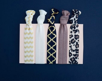 Ivory, Black, Brown & Gold Elastic Hair ties || 5 pack || for girls, teens, and adults || gift