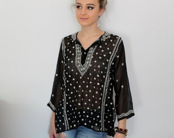 Vintage Sheer Black and White Embroidered Flower Blouse