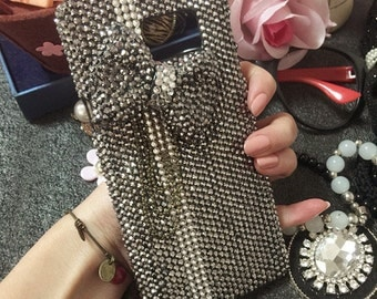 Bling Punk 3D Bow Sparkly Gun Black Gems Chic Crystals Rhinestones Diamonds Gemstones Luxury Fashion New Hard Cover Case for Mobile Phones