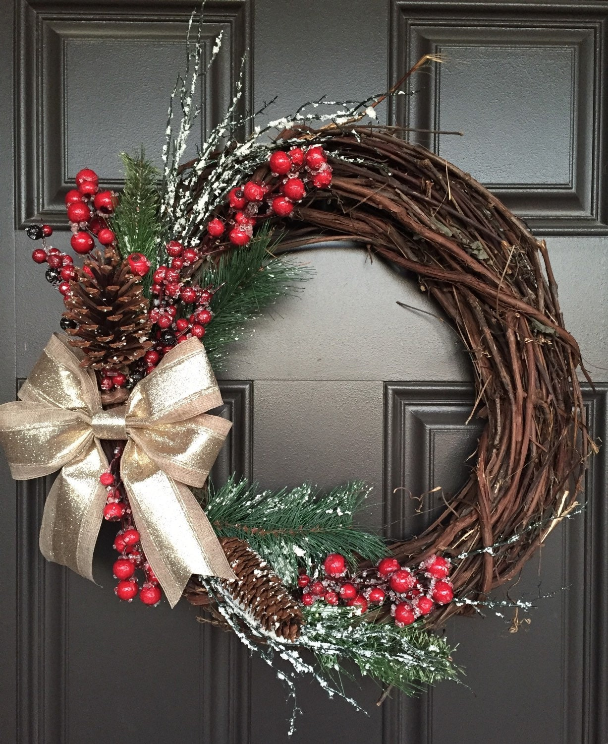 Rustic Christmas Wreath With Gold Bow Red Berries Greenery