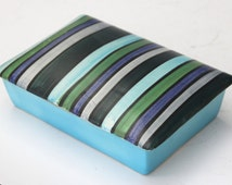 Vintage Italian Art Pottery Striped Dresser Jewelry Covered Jar Box Raymor
