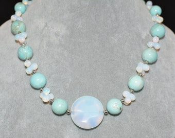 Opalite, Turquoise, Sterling Silver Necklace