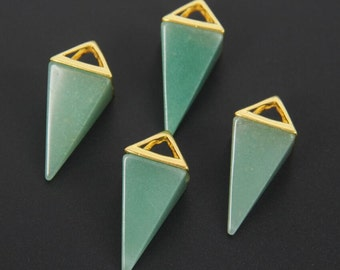 3-10pcs Wholesale Natural Geen Aventurine Cone Pendant with Gold Toned Brass cap and Bail Jewelry Pendant Necklace-Select With/Without Chain