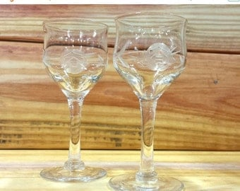 ON SALE Etched cordial glasses