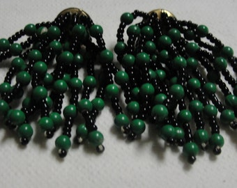 Fringed Green and Black Beaded Pierced Earrings