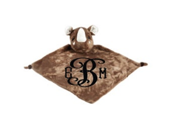 Monogram Security Blanket Personalized Security Blanket Embroidered Security Blanket Baby Snuggle Blanket Baby Snuggle Animal Rhino Blanket