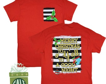 Black/ White Christmas Striped Red Holly T-Shirt was 19.95 NOW 11.97