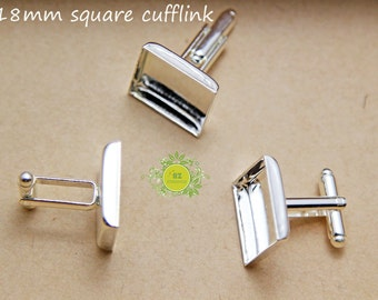 Cufflink Blank Square-Cuff Link-French Cufflinks Blank-Metal Blank Cufflink-Silver Cufflink with 16mm or 18mm square setting-Select Qty