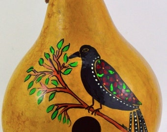 Gourd Birdhouse, Red Winged Blackbird, Hearts, Flowers, Folk Art, Painted Gourd