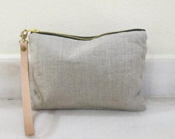 SALE! Wristlet, Simple Clutch Bag, Linen Clutch, Natural Linen and Leather Bag for Women, Simple Purse, Handbag, Summer Clutch
