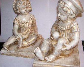 Vintage Chalkware Little Children Bookends Old Style Antiqued White and Gold Boy and Girl Sitting Shabby Chic