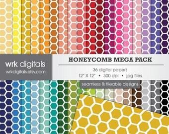 Honeycomb Mega Pack Seamless Digital Paper Pack, Digital Scrapbooking, Instant Download, Geometric Patterned Paper
