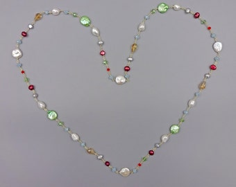 Rosary Style Beaded Chain Fresh Water Pearl and Crystals Long Wire Wrapping Necklace
