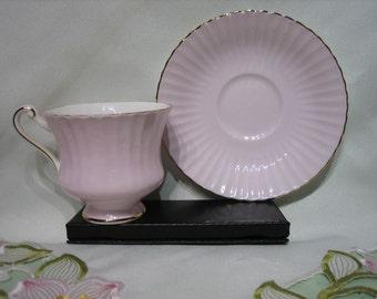 PARAGON TEACUP & SAUCER - (England), Pastel Pink with Gold Trim,   c. 1960's