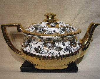 GIBSONS-STAFFORDSHIRE, ENGLAND -  Gold Teapot, c. 1950's