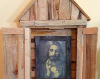 Eucharistic Jesus Shrine Reclaimed Wood