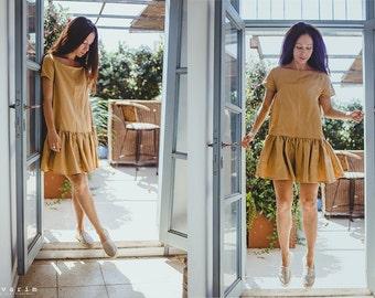 Gold Casual Day Dress, Summer dress, Boho Dress, Ruffles Dress