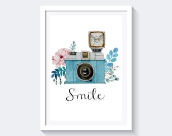 Smile Print, Vintage Print, Camera Print, Watercolor Print, Instant download, inspirational quote print, retro print