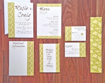 Green Daffodil 'Grace' - Wedding Stationery - SAMPLE PACK ONLY