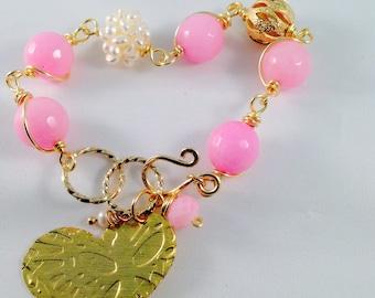 Pink jade bracelet, gold heart bracelet, adjustable fresh water pearl,gold filled bracelet
