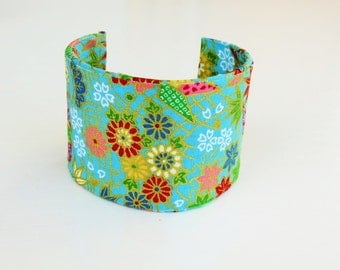 fabric cuff bracelet, japanese inspired bracelet, summer cuff bracelet, summer trends, origami fabric bracelet, unique summer gift for her