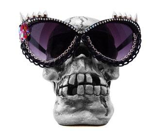 MANEATER sunglasses, spiked sun glasses, cat eye glasses, vintage Swarovski gemstones, goth, punk rock, pinup, metal, rockabilly, Elvira