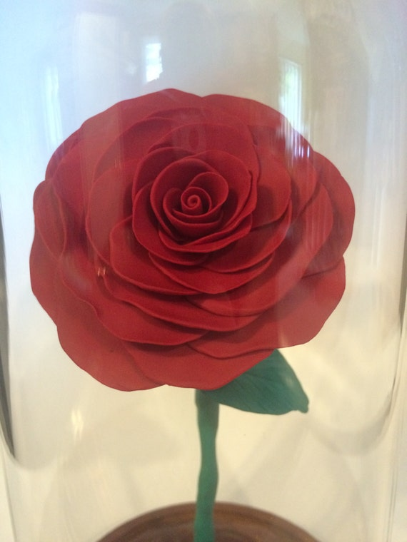 Beauty And The Beast Red Rose Dome Extra Large Enchanted