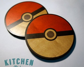 Poke Ball, Pokemon Coaster Wooden, Two Coasters