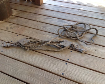 Vintage Block & Tackle, Cast Iron, Metal and Rope - Fence Stretcher, Hoist