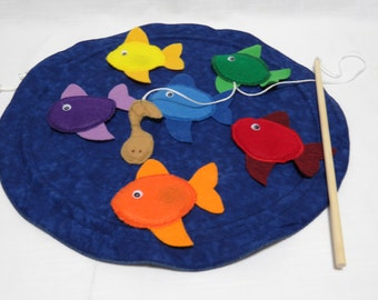 "Magnetic Felt Fishing Game with Pond Carry Bag - Montessori - Preschool - Play Time - Felt Toy - 18"" pond"