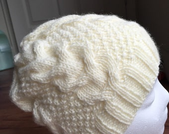 Hand knitted 100% pure wool cable knit woman beanie, winter hat,cream