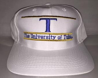 Vintage University of Tulsa Golden Hurricane Snapback hat cap rare 90s The Game Split bar NCAA College football deadstock