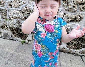 chinese style cheongsam  handmade for 1-10 girl blue/flower