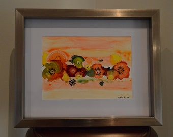 Garland Abstract: Alcohol Ink & Watercolour Original Painting on Yupo Paper