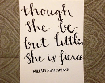 Though She Be But Little She is Fierce Canvas Painting Shakespeare Quote Wall Art Inspirational Baby Girl Nursury Decor