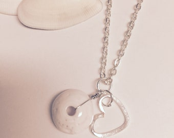 Puka Shell Silver Wire Wrapped Necklace With Heart Charm