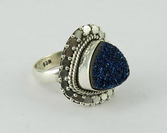 Shiny !! Blue Titanium Druzy 925 Sterling Silver Ring| 8.0 US|Gemstone Silver Jewelry