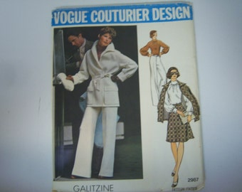 Vogue Couturier Design Pattern, By Galitzine, Pattern #2987, Size 12, Blouse Pieces Used, Appears Complete, Paper Instructions, Collectible