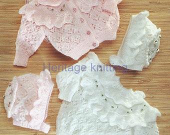 baby girls  yoke cardigan sweater and bonnet dk knitting pattern 99p pdf