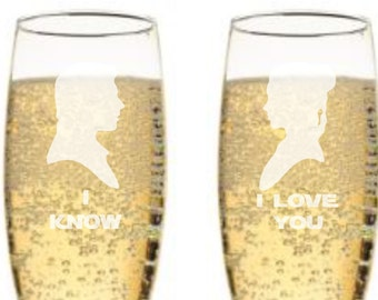 Star Wars I Love You, I Know Champagne Flutes - Han Solo & Princess Leia