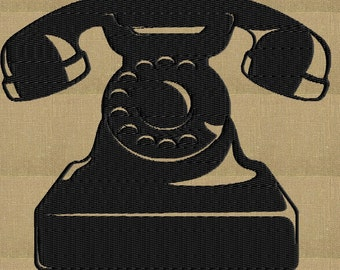 Telephone Embroidery Design - Retro Vintage - EMBROIDERY DESIGN FILE - Instant download - 2 sizes & Hus Dst Jef Pes VP3 Exp formats