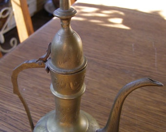 Vintage Brass Arabic Tea Coffee pot etched design made in India