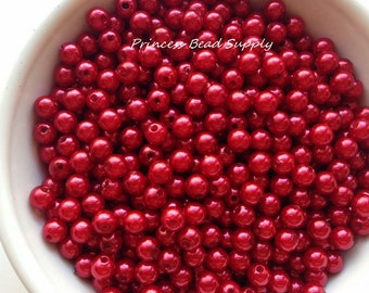 6mm Red Pearl Beads Set of 100 or 200,  6mm Red Beads, 6mm Red Pearls, 6mm Pearls, 6mm Spacer Beads, Chunky Bubble Gum Beads