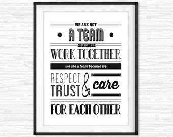 Teamwork Quotes For Office Wall Art Printable Success Motivational Decor Inspirational Quote Work