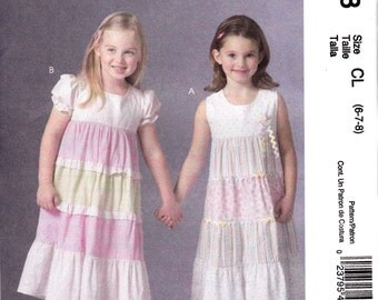 McCall's Girls' Dresses Pattern M4758 Uncut and Unused Size 6-7-8 Girls Small Sewing