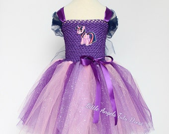 Twilight Sparkle Inspired Tutu Dress, My Little Pony Twilight Sparkle, Handmade Purple Glitter Tulle Dress, MLP tutu with Lined Top